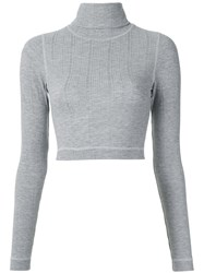 A La Garconne Roll Neck Cropped Top Polyester Grey