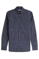 Burberry Brit Printed Cotton Linen Shirt Blue