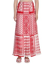 Fendi Native Quilt Maxi Skirt Red White