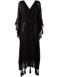Alberta Ferretti Lace Detail Sheer Coat Black