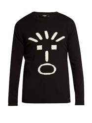 Fendi Faces Intarsia Crew Neck Sweater Black