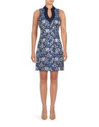 Belle By Badgley Mischka Sleeveless Floral Jacquard Sheath Dress Blue Silver