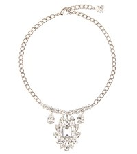 Dolce And Gabbana Crystal Embellished Necklace Silver