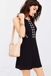 Ecote Leather Basket Weave Shoulder Bag Blond