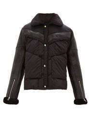 Schott Leather Sleeves Technical Quilted Shearling Jacket Black