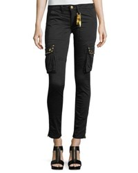 Robin's Jeans Military Inspired Studded Skinny Stretch Cotton Pants Black