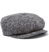 Lock And Co Hatters Flecked Wool Tweed Flat Cap Blue