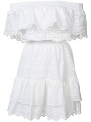 Love Shack Fancy Off Shoulder Ruffle Eyelet Dress White