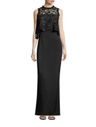 Shoshanna Midnight Lace And Crepe Popover Gown Jet
