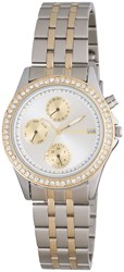 Pilgrim Silver And Gold Plated Crystal Watch Metallic