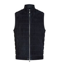 Corneliani Quilted Suede Gilet Male Navy