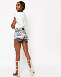 The Laundry Room Cut Off Shorts With Stars And Stripes Graphic Pocket Darkacid