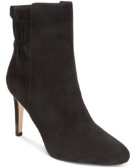 Nine West Herenow Ruched Back Booties Women's Shoes Black Suede