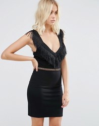 Goldie Last Dance Fitted Dress With Fringed Neckline And Waist Trim Black