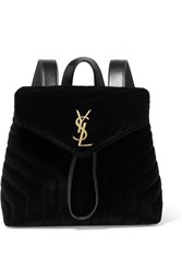Saint Laurent Loulou Small Leather Trimmed Quilted Velvet Backpack Black