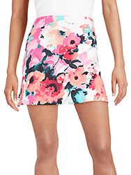 Saks Fifth Avenue Red Watercolor Floral Print Mini Skirt Multi