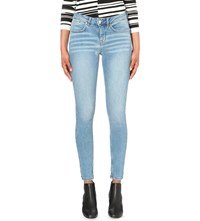 Karen Millen Faded Skinny High Rise Jeans Pale Blue