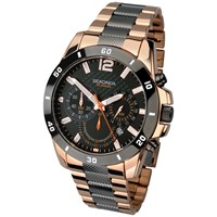 Sekonda 1006.27 Men's Two Tone Rose Gold Plated Chronograph Bracelet Strap Watch Gunmetal Rose Gold