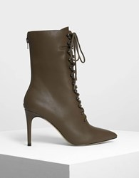 Charles And Keith Speed Lacing Detail Pointed Boots M.Grn