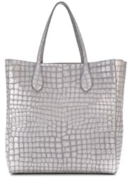 Rochas Crocodile Effect Shopper Grey