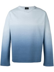 Jil Sander Ombre V Neck Sweater Blue