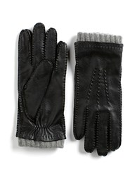 Black Brown Leather Cashmere Gloves Black