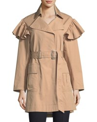 Rebecca Taylor Cotton Faille Belted Trench Coat Neutral Pattern
