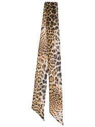 Saint Laurent Leopard Print Skinny Scarf Brown