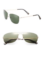 Montblanc Thin Frame 59Mm Metal Sunglasses Rose Gold Green