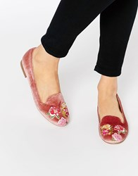 Asos Mylo Embroidered Flat Shoes Pink