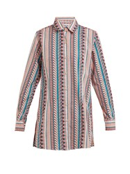 Thorsun Georgie Geometric Print Cotton Shirt Pink Stripe