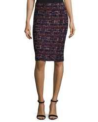 St. John Tweed Pull On Pencil Skirt Black Pattern