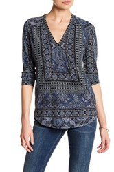 Lucky Brand Placed Print Blouse Blue