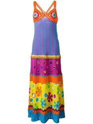 Moschino Mirror Embellished Patchwork Dress Pink Purple