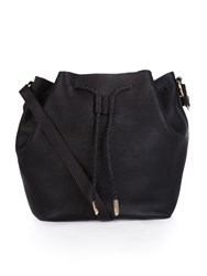 Accessorize Leather Slouchy Drawstring Duffle Bag Black