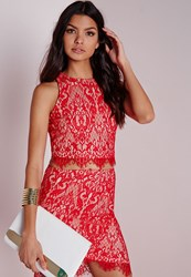 Missguided Sleeveless Scalloped Hem Crop Top Red