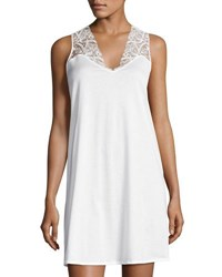 Hanro Daphne Lace Trim Tank Gown White