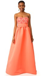 Marchesa Strapless Ball Gown Coral