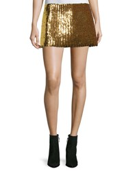 Marc Jacobs Chevron Sequined Mini Skirt Gold