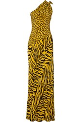 Boutique Moschino One Shoulder Printed Silk Crepe De Chine Gown Yellow