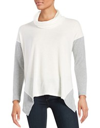 Design Lab Lord And Taylor Asymmetrical Colorblocked Fleece Sweater White