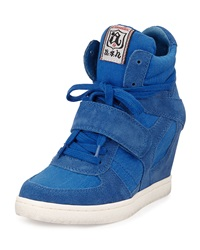 Ash Suede And Canvas Wedge Sneaker Royal