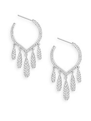 Adriana Orsini Teardrop Hoop Earrings 1.25 Silver