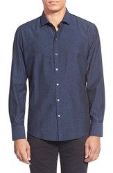 Zachary Prell 'Hale' Regular Fit Long Sleeve Dobby Sport Shirt Navy