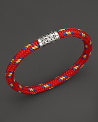 John Hardy Men's Classic Chain Silver Station Bracelet On Multicolor Red Cord