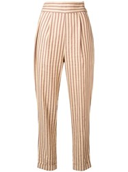 Romeo Gigli Vintage 1990'S Striped Trousers Brown