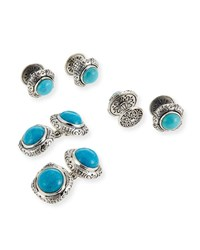 Konstantino Turquoise Cabochon Sterling Silver Cuff Links And Stud Set