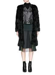 Toga Archives Leather Biker Insert Rabbit Fur Coat Black