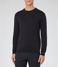 Reiss Hart Mens Merino Crew Neck Jumper In Blue