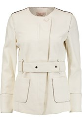 Tory Burch Textured Leather Jacket Ivory